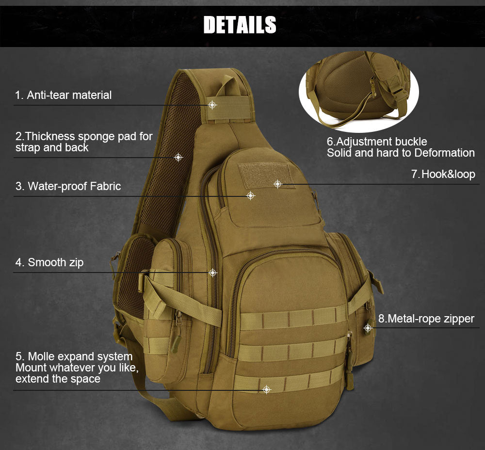 Tactical MOLLE Backpack Suitable For 14 inch Laptop 800D Military Grade Waterproof Nylon Hiking Travel Backpack - 7 Colors
