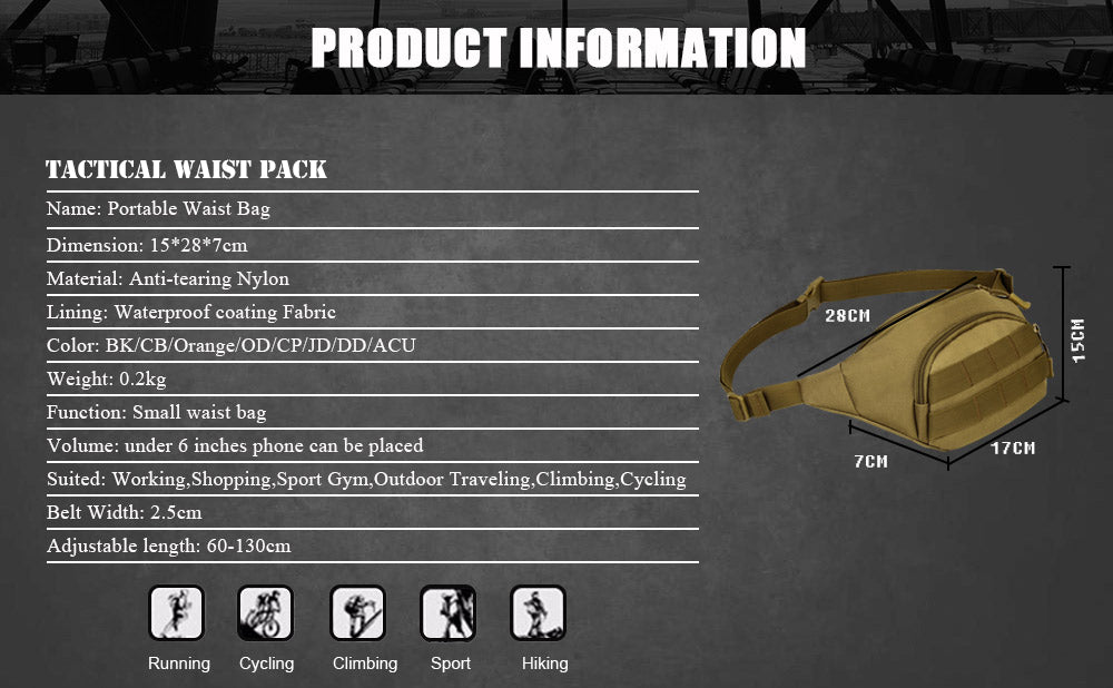 Tactical MOLLE Belt Pack High Grade Waterproof Nylon Waist Bag Fanny Pack Climbing Hiking Hunting Tactical Waist Pack - 7 Colors
