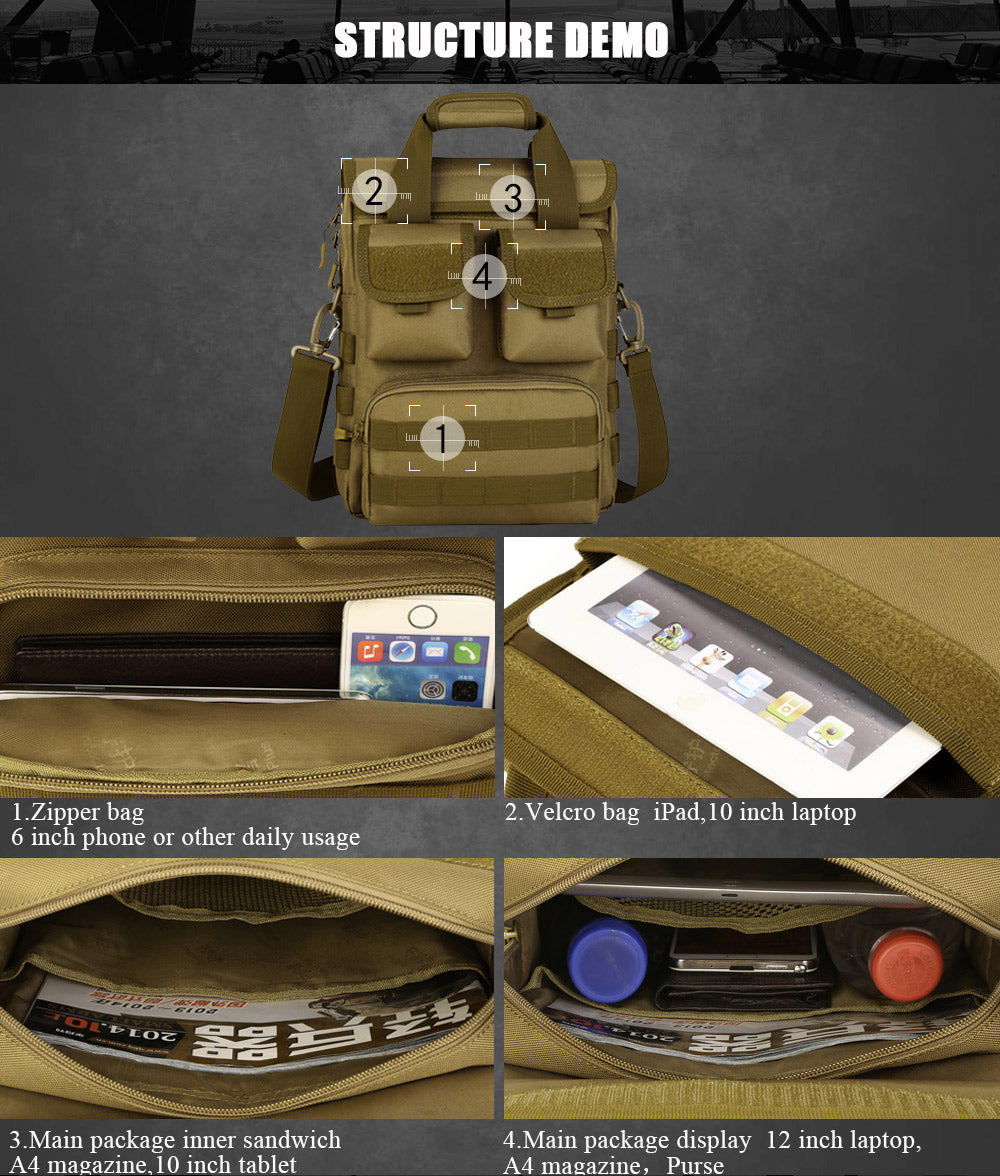 Tactical MOLLE Messenger Bag Hunting Backpack Cross Body Shoulder Bag Suitable For 12 inch Tablet - 6 Camouflage Colors