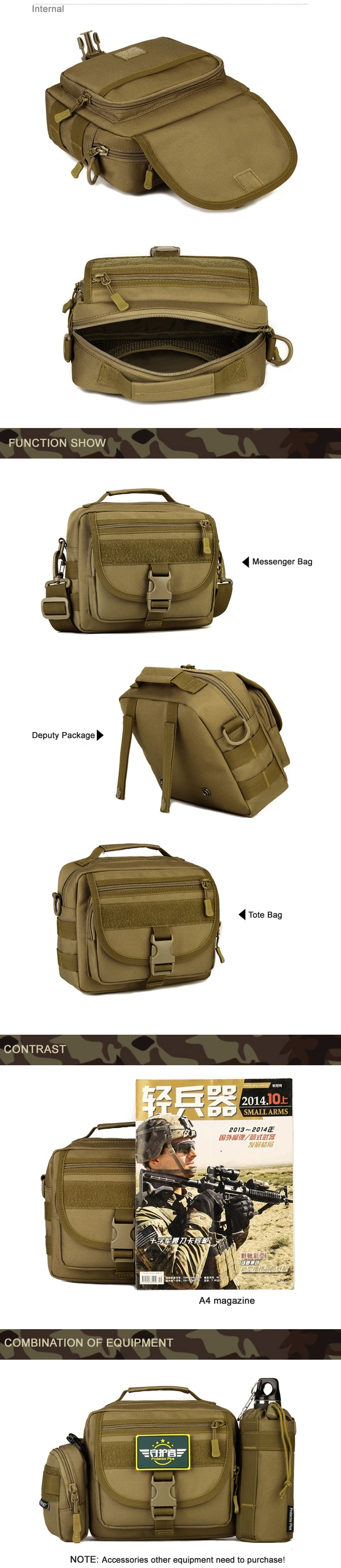 Tactical MOLLE Messenger Bag Travel Kit Bag EDC Pouch For Hiking Camping Fishing Hunting Military Tactical Shoulder Bag - 6 Colors