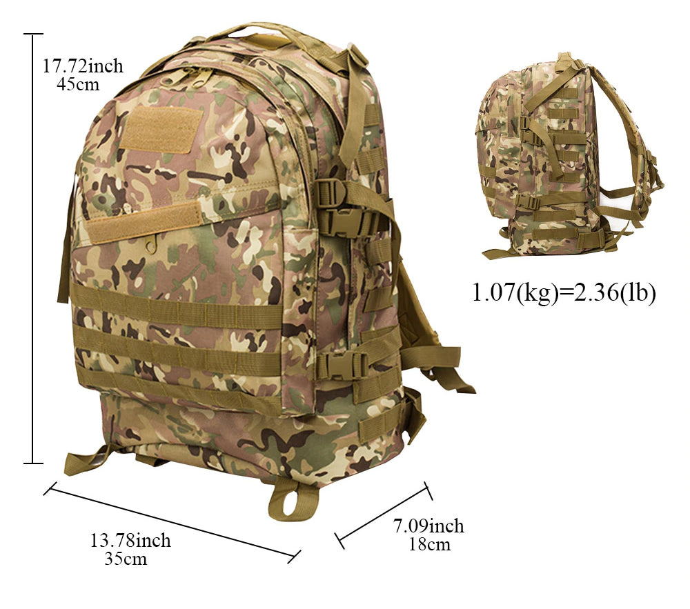 Tactical MOLLE Military Backpack Day Pack For Climbing Mountaineering Camping Hiking Travel Trekking Rucksack Backpack - 14 Colors