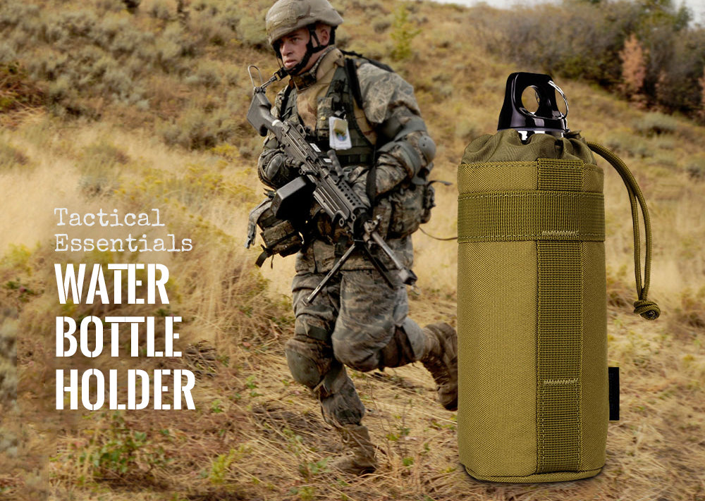 Tactical MOLLE System Water Bottle Army Bag Climbing Bags D-ring Holder Drawstring Pouch Durable Travel Hiking Water Bottle Bag - 7 Colors
