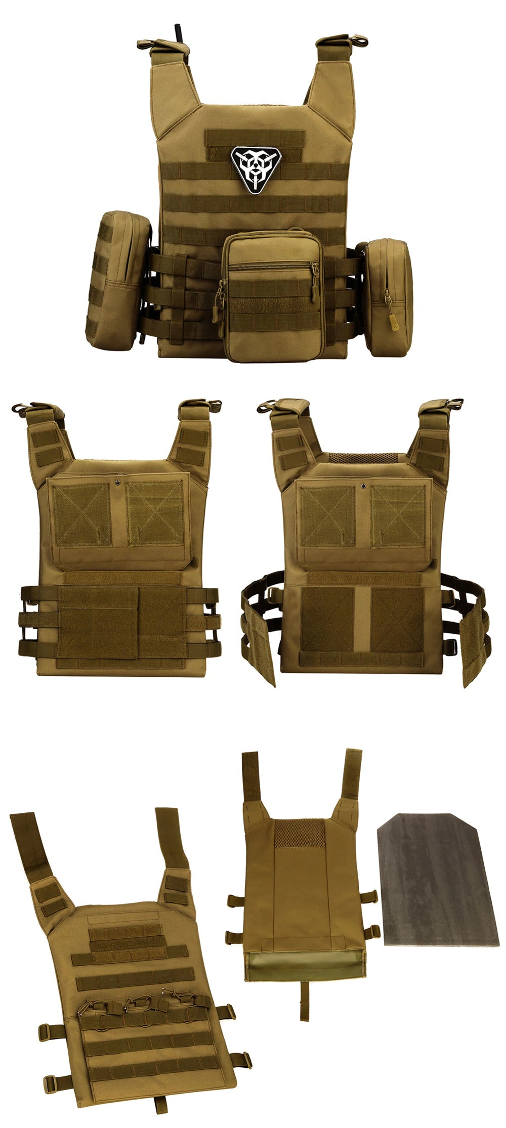 Tactical MOLLE Vest Nylon Military Tactical Combat Games Hunting Airsoft Paintball Army Shooting Vest Adjustable Tactical Vest - 6 Colors