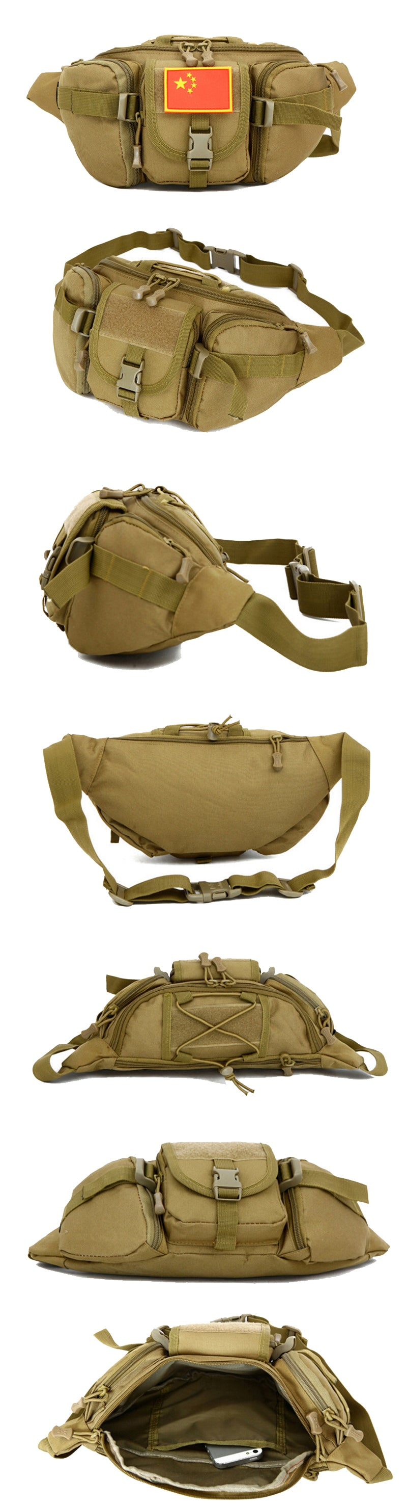 Tactical MOLLE Waist Pack Waterproof Belt Bag Fanny Pack Travel Bumbag Multi-Purpose Tool Belt Pack