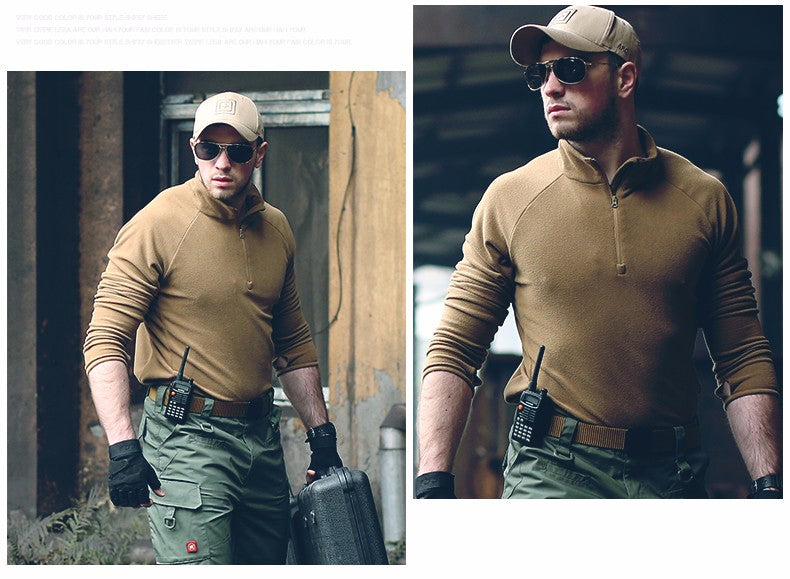 Tactical Men's Fleece Pullover Thermal Breathable Lightweight Tactical Clothing Layer for Outdoor Sports Hiking Trekking Hunting - 5 Colors