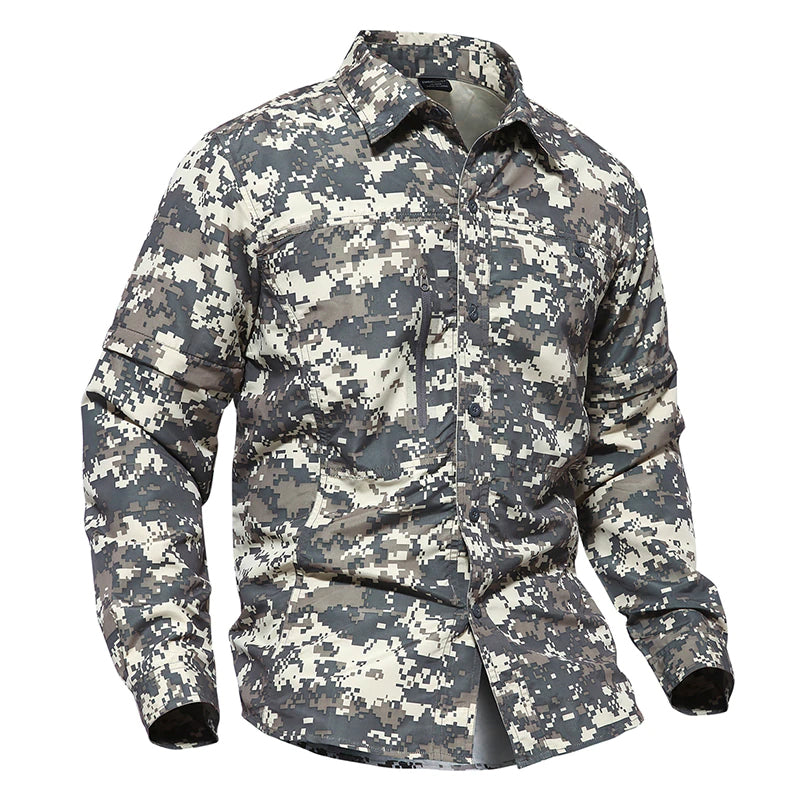 Tactical Military Camouflage Shirt For Men Lightweight Breathable With Detachable Sleeves Paintball Airsoft Army Combat Shirts - 4 Colors