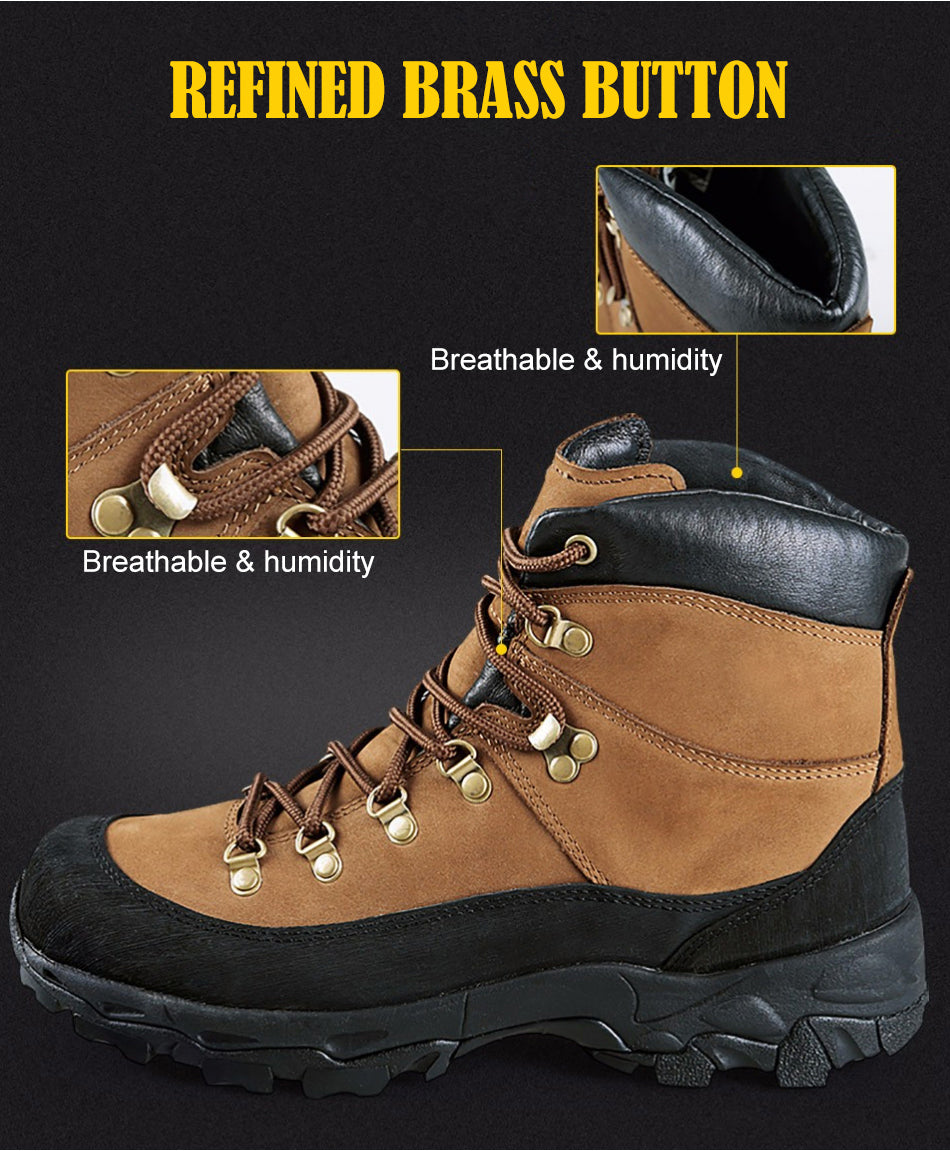 Tactical Military Combat Boots Lightweight All Terrain Real Leather Trekking Shoes for Hiking Cimbing Trekking - 2 Colors Brown Black