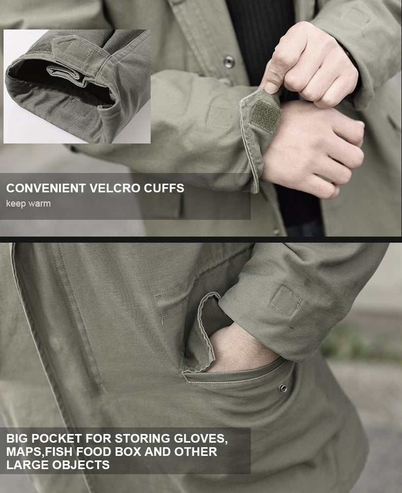 Tactical Military M-65 Style Field Coat Windproof Jacket Trench Coat For Hiking Hunting Camping Everyday Wear Coat - Black