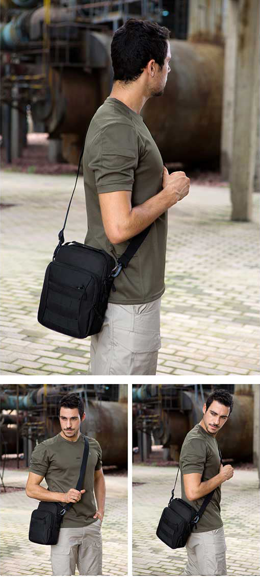 Tactical Molle Messenger Bag EDC Pouch 1000D Nylon Shoulder Travel Bag For Carrying Tablet Mobile Phone Wallet etc