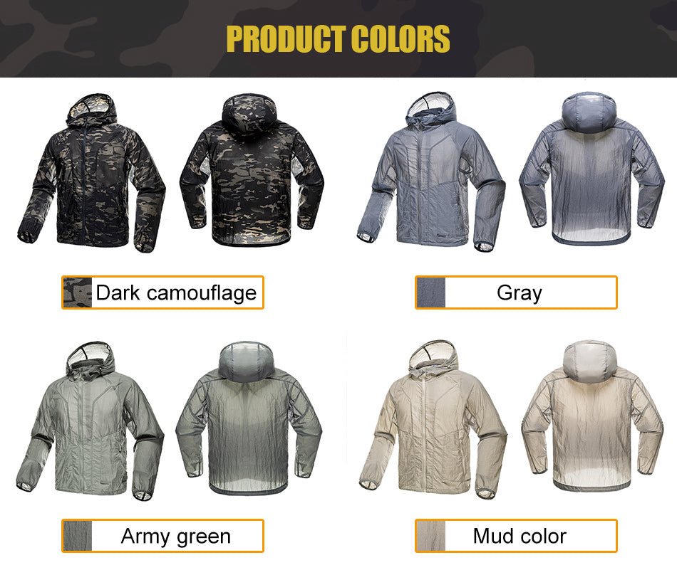 Tactical Skinjacket Lightweight Breathable Outdoor Summer Jacket For Men in Camouflage, Army Green, Brown and Grey