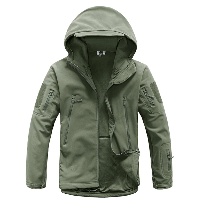 Tactical Softshell Army Camouflage Hooded Jacket Military Tactical Coat Waterproof Windproof Jacket Hunting Hiking Outdoor Activities - 7 Colors