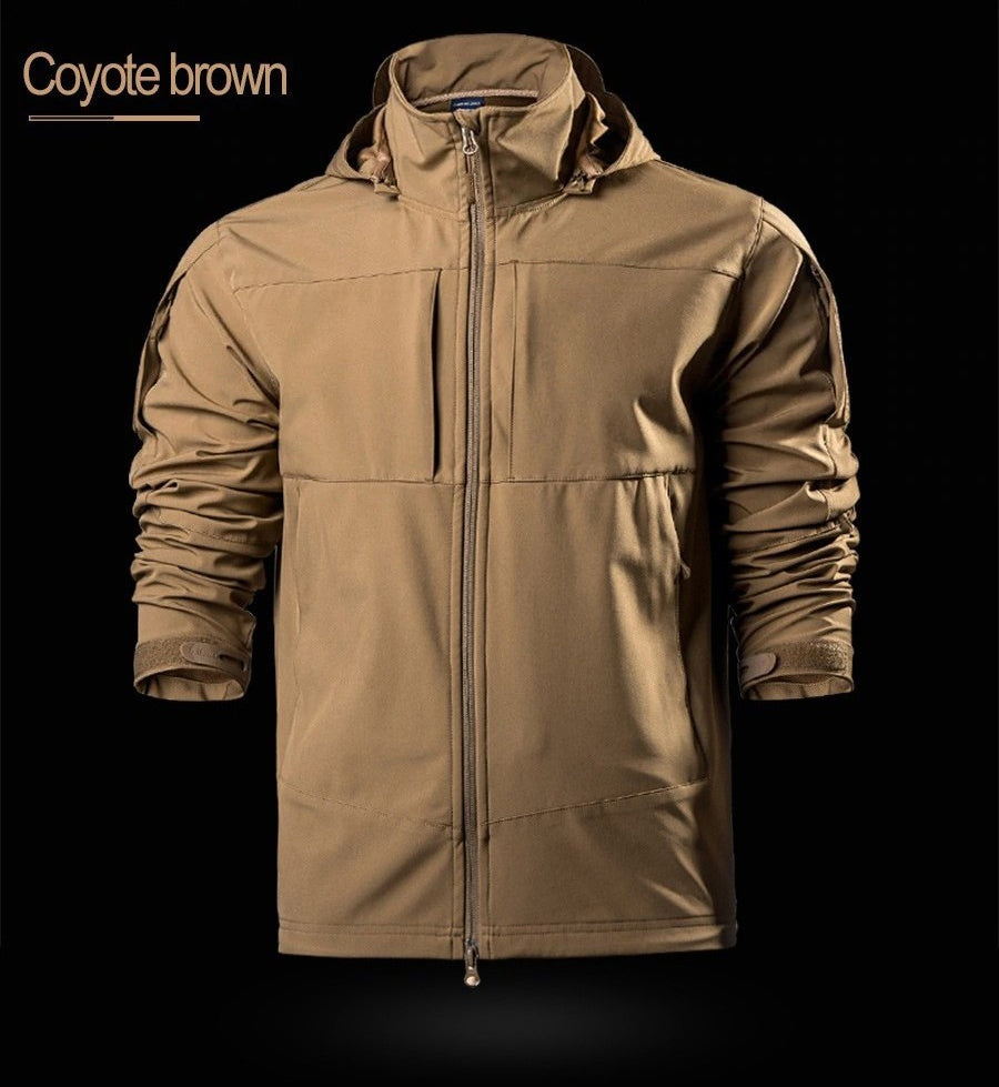 Tactical Softshell Jacket For Men Windproof Water Resistant Outer Layer With Optional 2-in-1 Thermal Inner Layer - 3 Colors