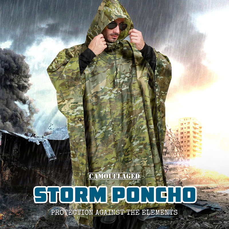 Camouflaged Rainproof Storm Poncho Lightweight Portable Multi-Purpose Rain Cape