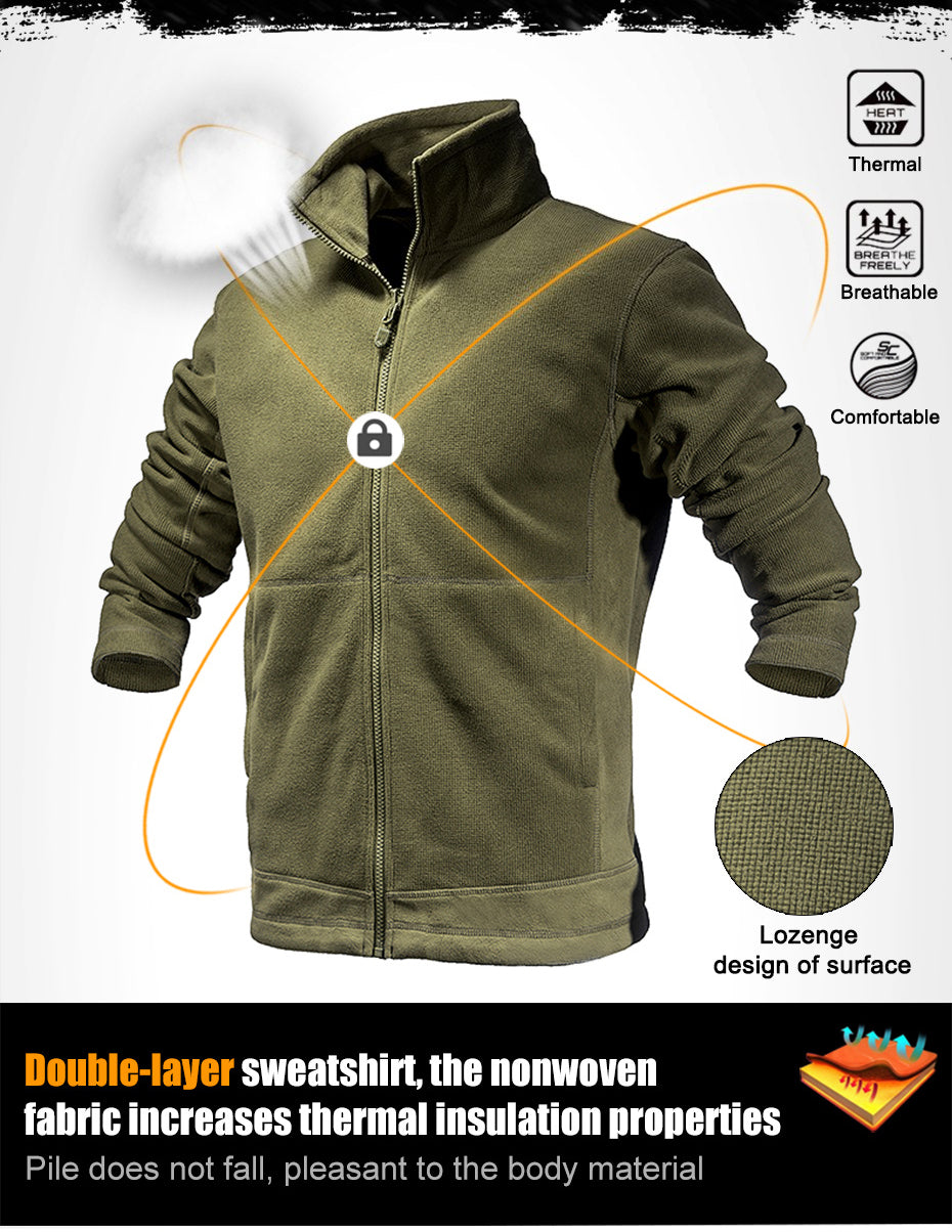 Tactical Sweatshirt For Men Windproof Double Layer Thermal Fleece Outdoor Clothing For Hiking Trekking Outdoor Sports - 3 Colors