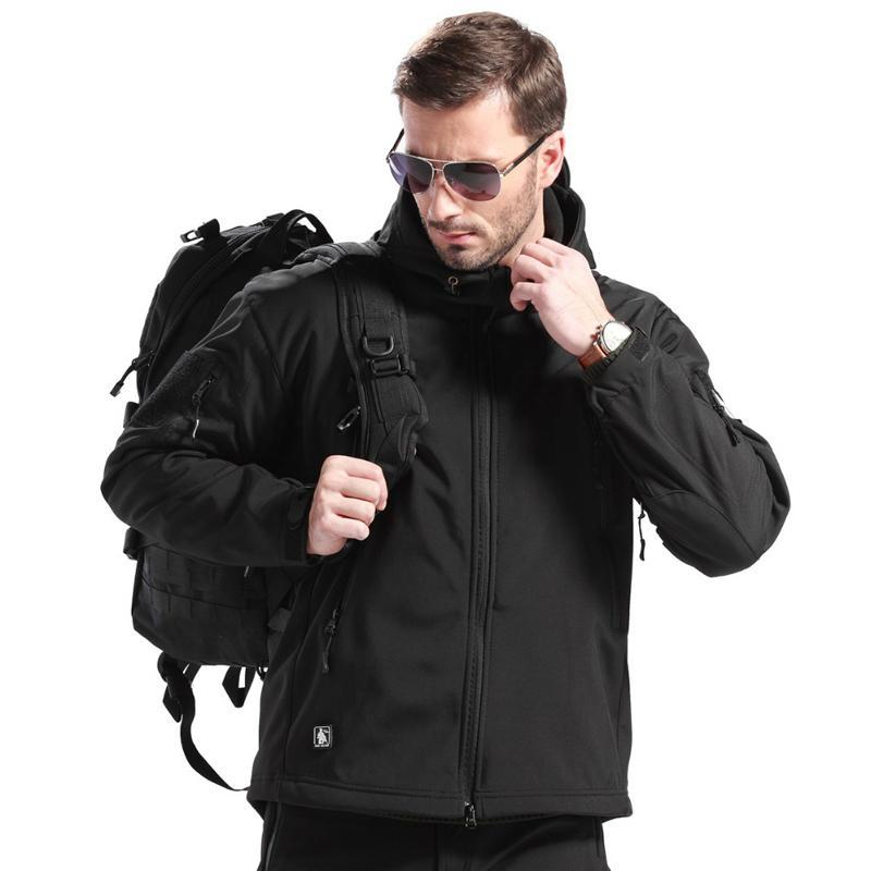 Tactical Technical Softshell Jacket For Men Windproof Breathable With Fleece Lining