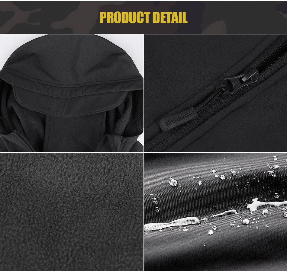 Tactical Technical Softshell Jacket For Men Windproof Breathable With Fleece Lining - Multiple Colors