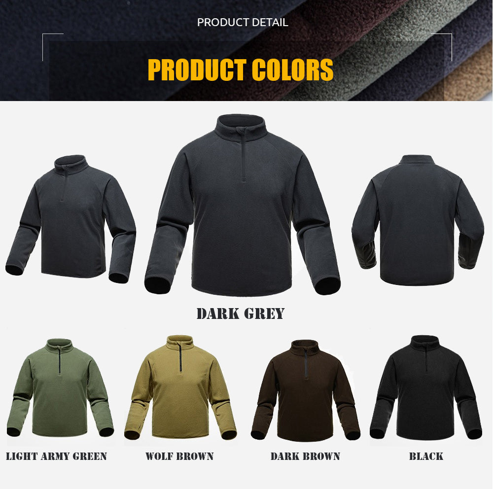 Tactical Utilitarian Men's Lightweight Fleece Pullover Thermal Mid Layer - 6 Colors