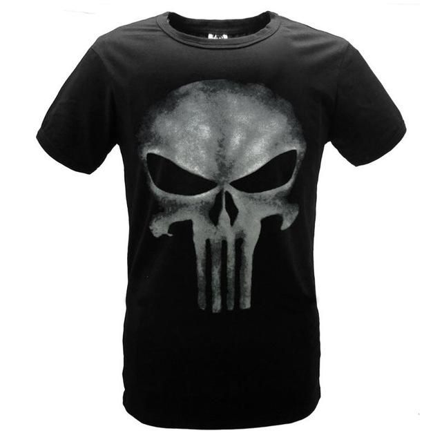 The Punisher T-Shirt Black Short Sleeve Casual T Shirt Printed Punisher Skull Motif - 6 Variations