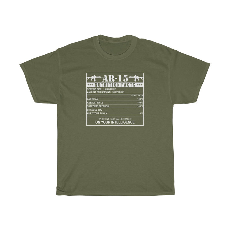 AR-15 Nutrition Facts Mens Womens T-shirt
