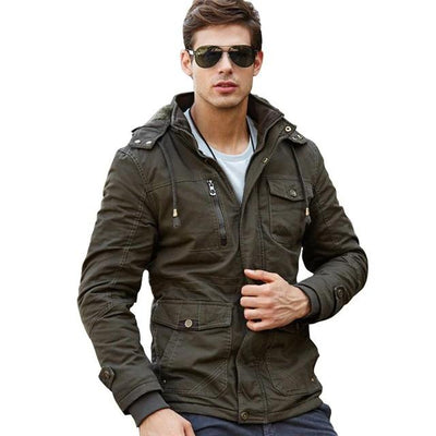 Men's Military Style Winter Jacket Hooded Army Style Thick Wool Liner Cotton Military Jacket Tactical Coat Jacket Men's Clothing - 3 Colors