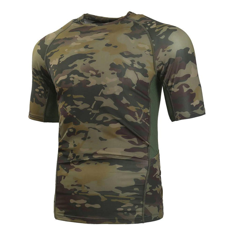 Men's Tactical Short Sleeve Shirt Military Camouflage T-Shirt Quick-Dry Breathable Mesh Fabric Active Sportswear MTB Cycling Jersey - 5 Colors