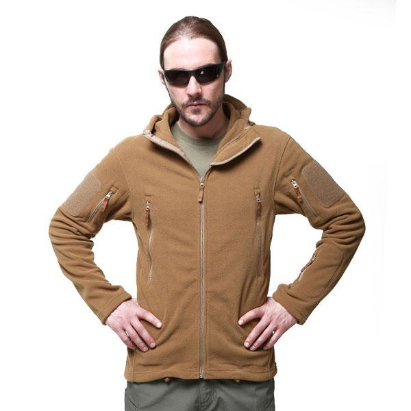 Military Tactical Hooded Fleece Jacket Windproof Thermal Layer Jacket for Hiking Trekking and General Outdoor Activities - 3 Colors