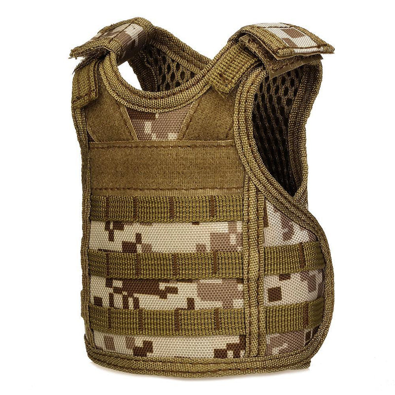 Miniature Military MOLLE Tactical Beer Vest Hunting Camping Tactical Beverage Cooler Adjustable Straps - 8 Colors