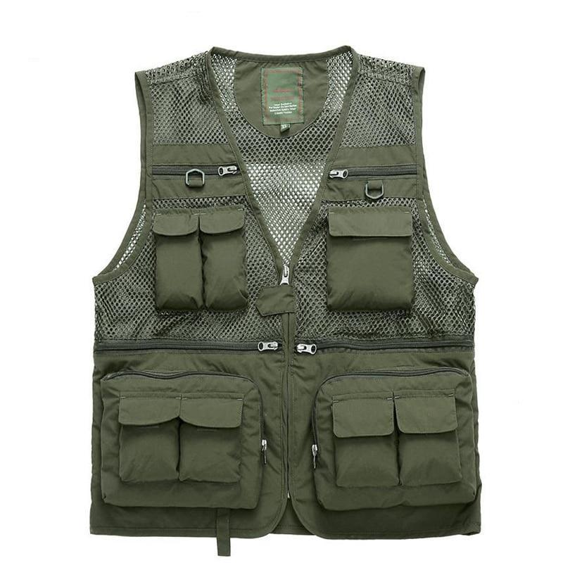 Waterproof Tactical Mesh Vest For Men Quick Dry Multi Pockets Fishing Hunting Photography Vest Army Waistcoat Outerwear Clothing