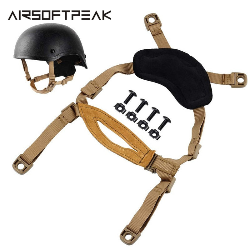 AIRSOFTPEAK TB956 Military Tactical Combat Molle Helmet Adjustable Neck Strap for Airsoft Paintball
