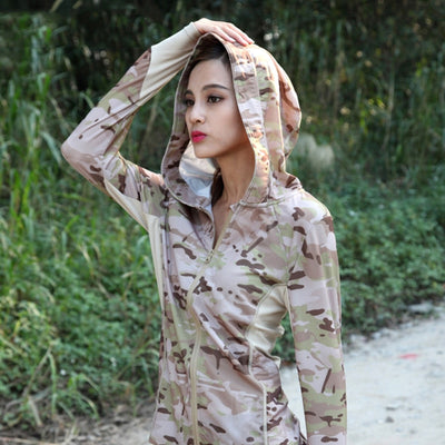 SINAIRSOFT Women's Softshell Lightweight Hooded Military Tactical Combat Camouflage Water Resistant Windbreaker Jacket - 5 Camo Colors
