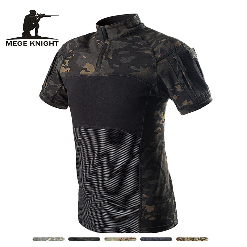 MEGE KNIGHT Military Tactical Combat Camouflage Cotton Polyester Short Sleeve Men's Shirt - 5 Colors
