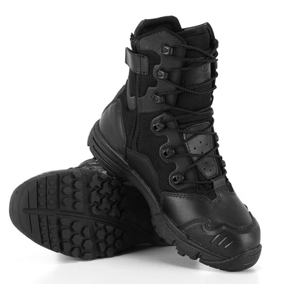 PAVEHAWK Military Tactical Combat Leather Nylon Mid High Ankle Boots Black & Desert Tan