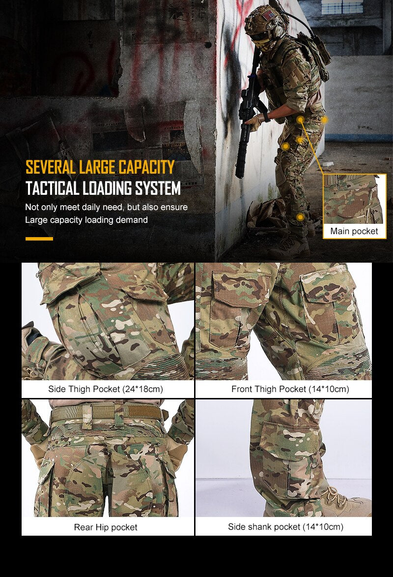 IDOGEAR G3 Military Tactical Combat Cotton Polyester Camouflage Pants with Knee Pads - 2 Camo Colors