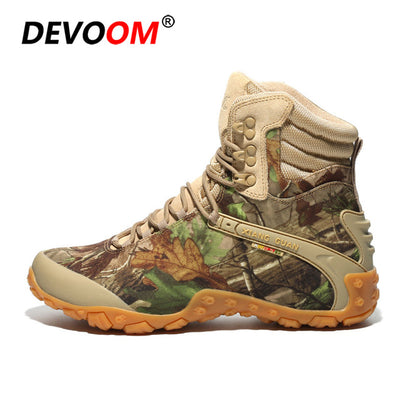DEVOOM Military Tactical Combat Leather Mens Boots Camo Camouflage