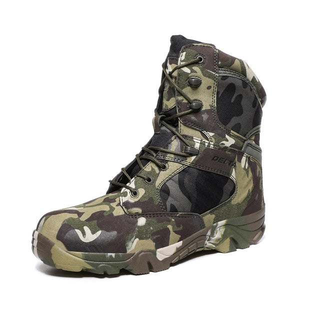 HANWILD Military Tactical Combat Split Leather Mens Boots Camouflage Camo Green Black Desert Tan