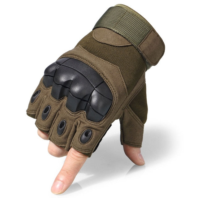 JIUSUYI A10 Military Tactical Combat Anti-Skid Hard Knuckle Half Finger Gloves