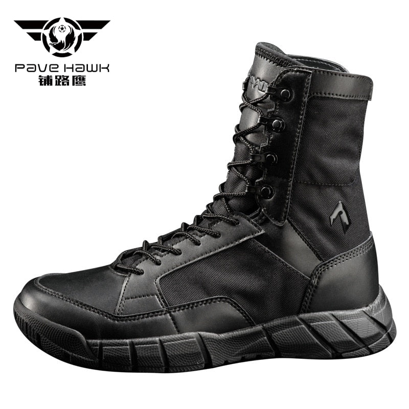 PAVEHAWK Military Tactical Combat Ultralight Leather Fabric High-Ankle Men's Boots Black Desert Tan