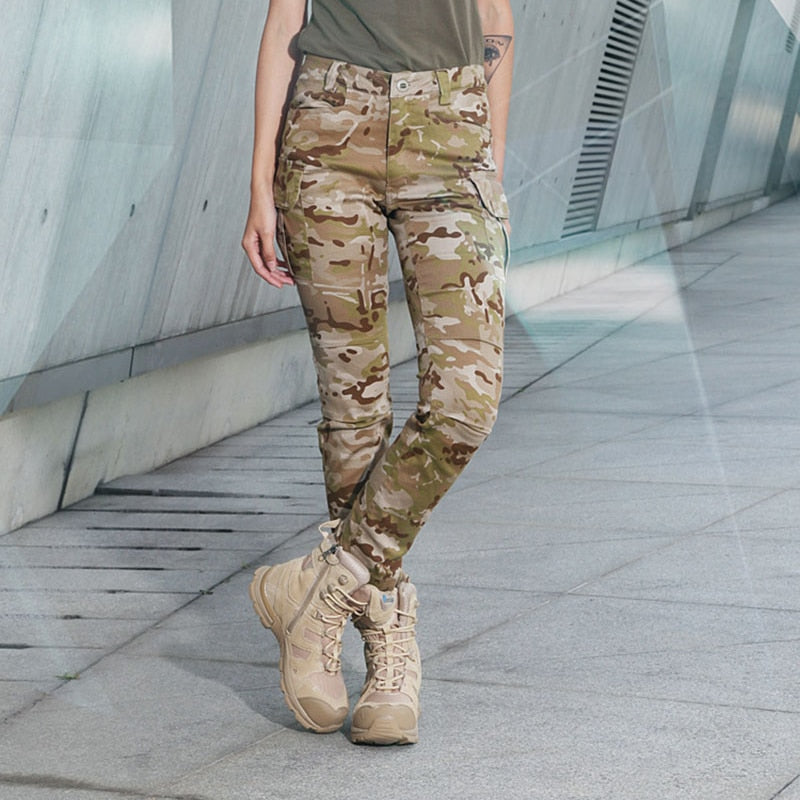 Women's Military Tactical Combat Camouflage Cotton Spandex Trousers Pants - 4 Camo Colors
