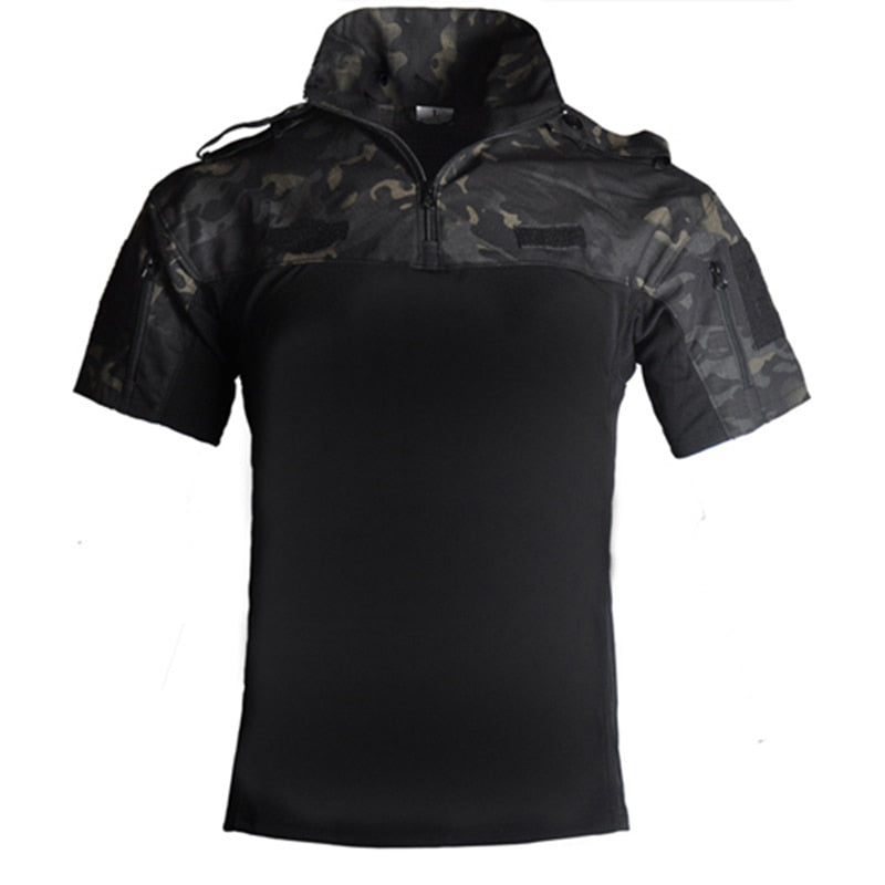 aichAngel SA081 Military Tactical Assault Combat Camo Camouflage Cotton Polyester Collared Short Sleeve Men's Shirt - 4 Colors