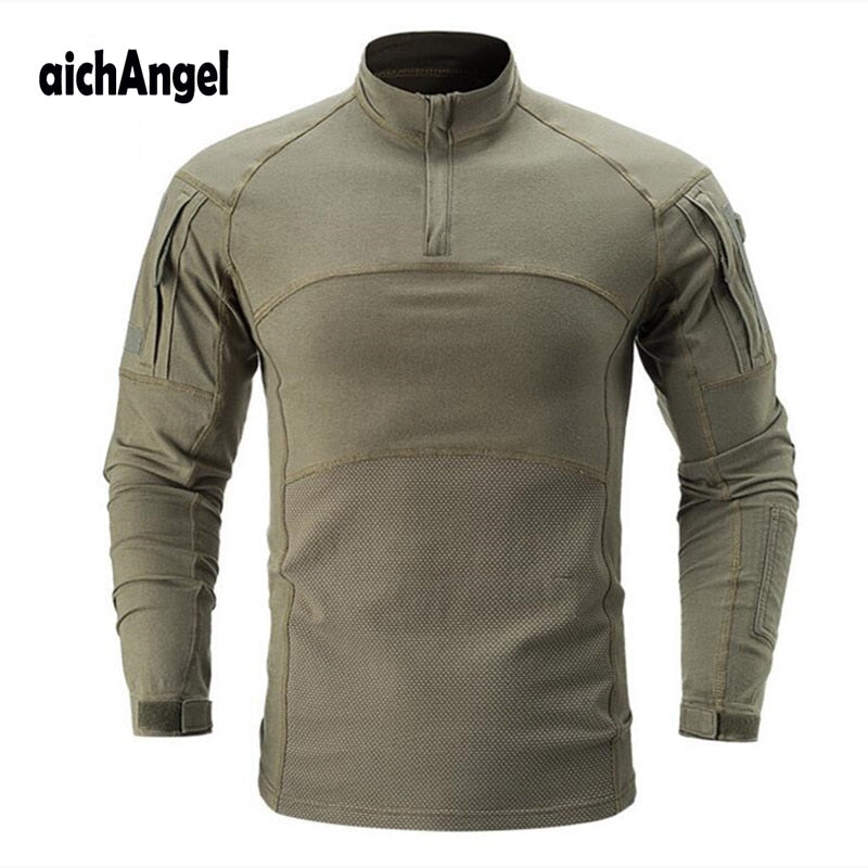 aichAngel Military Tactical Combat Cotton Polyester Long-Sleeve Camouflage Men's Shirt - 8 Camo Colors