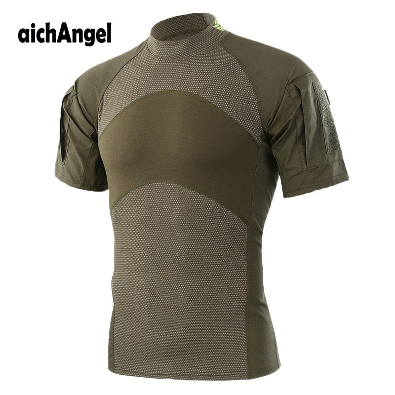 aichAngel Military Tactical Combat Cotton No Collar Short Sleeve Men's Shirt Camo Camouflage