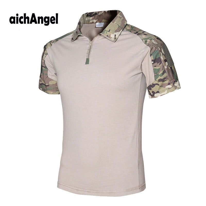 aichAngel Military Tactical Combat Camouflage Cotton Polyester Short Sleeve Men's Shirt - 10 Camo Colors