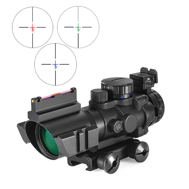 BESTSIGHT 4x32 20mm Tactical Combat Rifle Optical Lens Scope with Fixed Iron Rear Front Sights