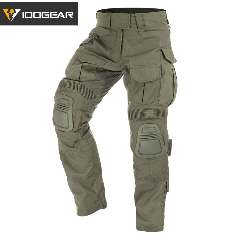 IDOGEAR G3 Military Tactical Combat Cotton Polyester Camouflage Men's Pants with Knee Pads - 4 Colors