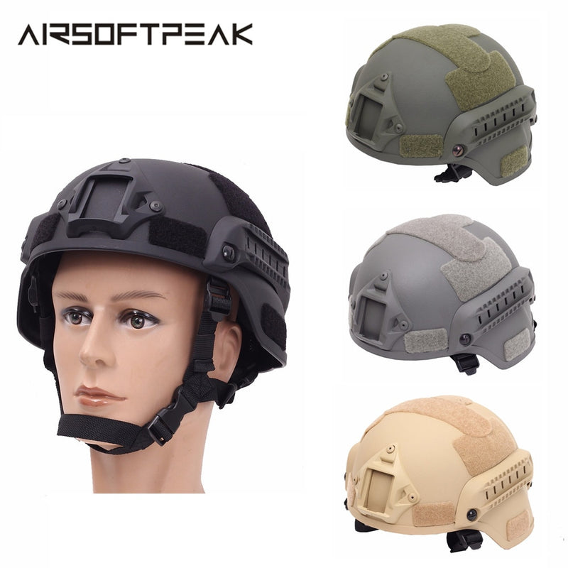 AIRSOFTPEAK Mich2000 Military Tactical Combat Molle Airsoft Paintball Helmet with NVG Mount & Side Rails - 4 Colors