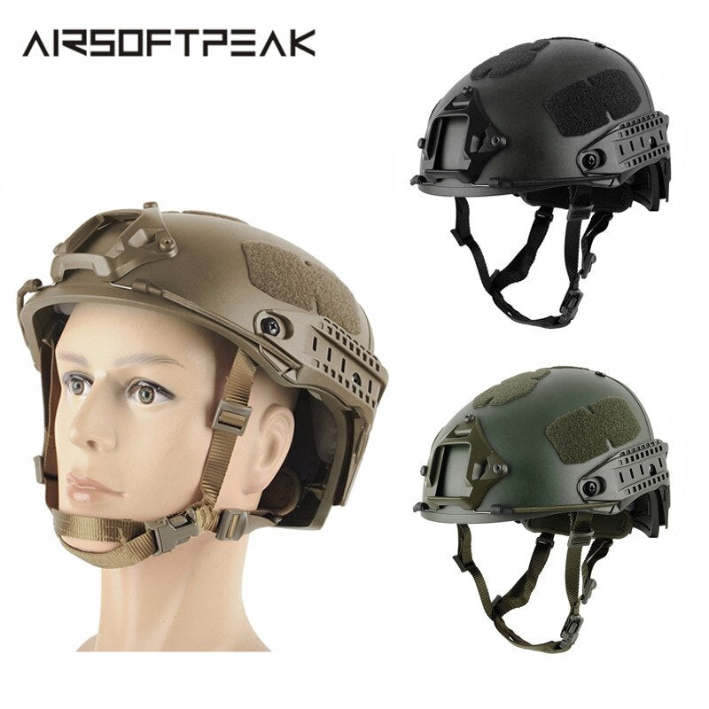 AIRSOFTPEAK EXF Military Tactical Combat Molle Airsoft Paintball Helmet with Pads & Adjustable Strap in 3 Colors