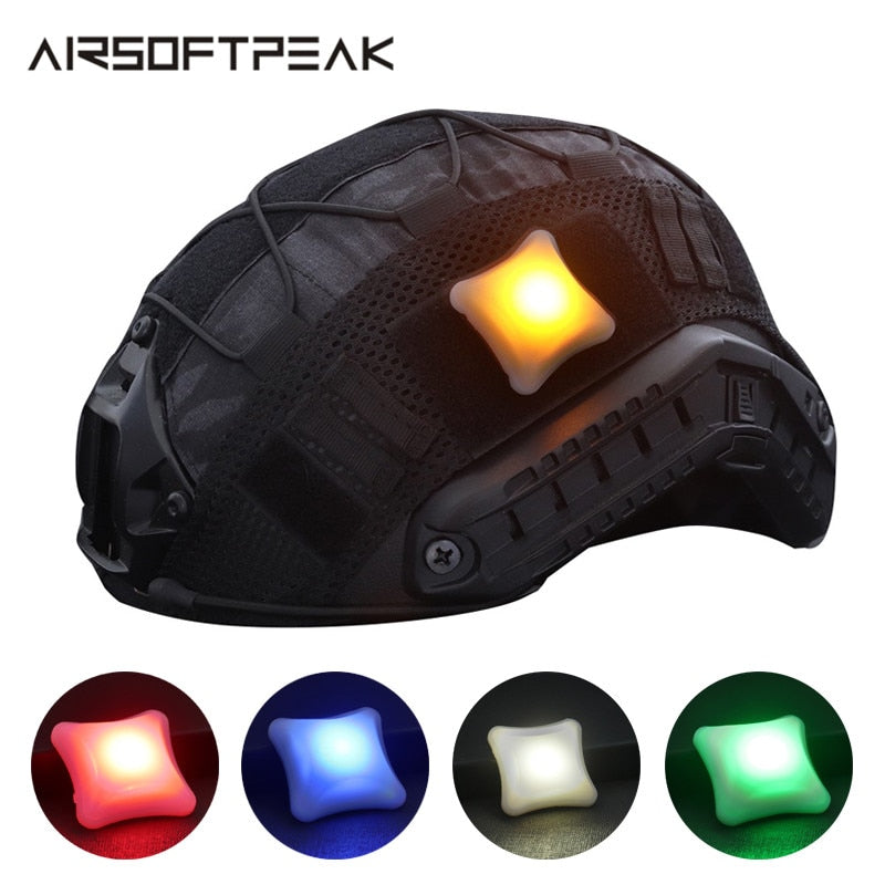 AIRSOFTPEAK Military Tactical Combat Protective LED Signal 4cmx4cm Light Hook & Loop for Helmet - 5 Colors