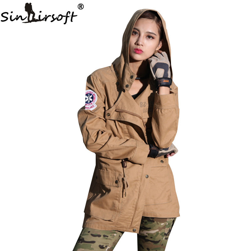SINAIRSOFT Women's Lightweight Hooded Military Tactical Combat Water Resistant Windbreaker Jacket - 3 Camo Colors