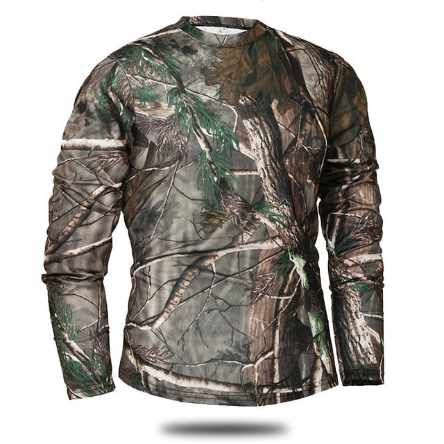 Tactical Long Sleeve Camouflage T-shirt Quick Dry Army Shirt Military Sweatshirt Combat Top For Airsoft Combat Hunting Fishing etc - 3 Colors