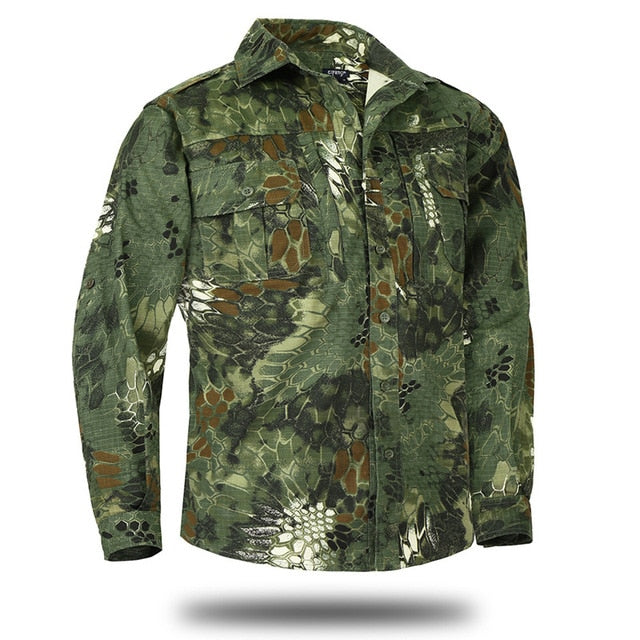 MEGE KNIGHT Military Tactical Combat Long-Sleeve Button-Down Men's Shirt with Pockets - 6 Colors